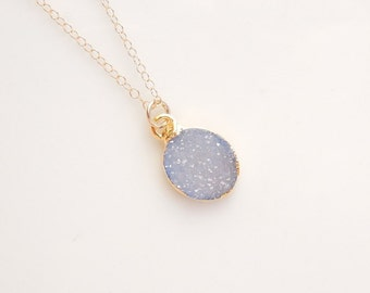 Light Sky Blue Druzy Necklace in Gold - One Of A Kind Jewelry