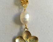 Gold Flower, Crystal and Freshwater Pearl Necklace