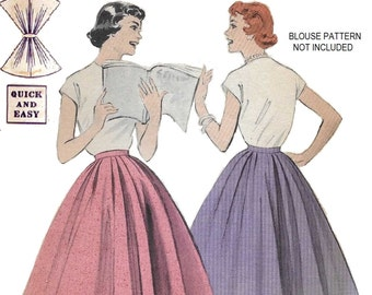 Butterick 7327 Women's 50s Quick & Easy Full Released Skirt Sewing Pattern Hip 35 Waist 26