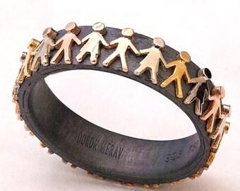 People Ring, Peace Ring, Wedding Ring, Wedding Band, Gay marriage ring, Gay wedding ring, gay wedding band, tricolor band, tricolor ring