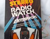 Rare Vintage 1981 ARMITRON FM Stereo Radio WATCH with Headset - Old Stock New in Box