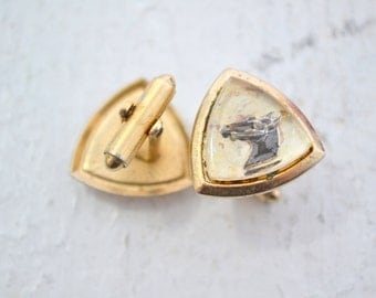 1950s Horse Head Cuff Links with Crystal Top