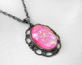Victorian Necklace, Handmade Glass Opal Pink, Filigree Art Nouveau Pendant, Renaissance Necklace, Color-Shift