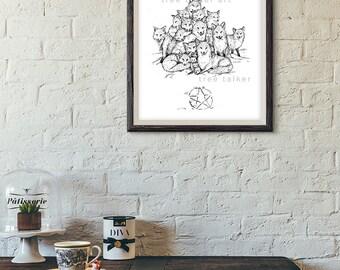 Black and White fox Drawing- Giclée Art Print- Fox Illustration