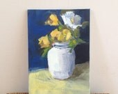 Little White Vase - 5x7 inch ORIGINAL Acrylic Floral Painting