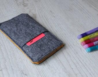 Microsoft Lumia 950, Lumia 950 XL sleeve case cover pouch handmade dark felt and orange with pocket