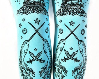 S M Duck Egg Blue Pastel Narwhal Tights Black on Deep Turquoise Duck Egg Blue Small Medium Nautical Lolita Fairy Kei Printed