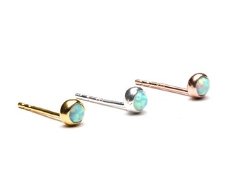 Tiny Lab Opal Stud Earrings, Sterling Silver Gold Plated, Gemstone Post Earrings, Minimal Lunaijewelry, Hand Made, Gift for her, STD075O03