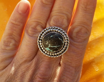 Blue Moon Nevada Turquoise Ring, size 7, in Sterling Silver