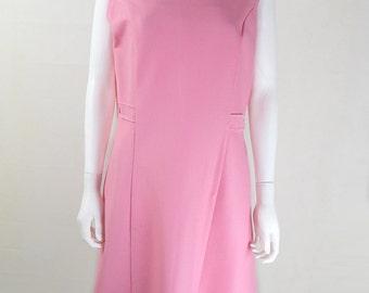 Original Vintage 1960s Pink Mod Dress UK Size 14/16