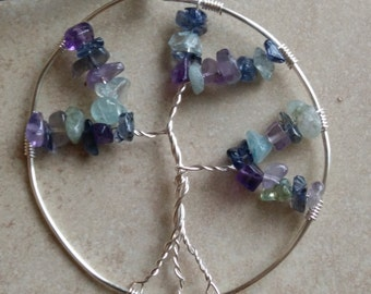 Tree Pendant Necklace with Amethyst, Aquamarine and Iolite