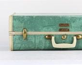 Samsonite Suitcase, Samsonite Marble Suitcase, Green Samsonite Suitcase, Turquoise Suitcase, Vintage Suitcase, Mid Century Suitcase