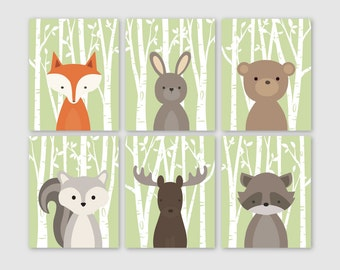 Woodland Nursery Art, Woodland Nursery Decor, Forest Animal Prints, Woodland Baby Shower Baby Boy Nursery Art, Baby Fox Art, Boys Room Decor