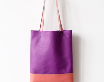 Rainbow SALE Radiant Orchid And Peach Leather Tote bag