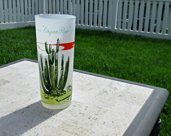 MCM Googie Tumbler - Anchor Hocking Arizona Organ Pipe Cactus Frosted Ice Tea Glass - Atomic Age Blakely Oil 50s Gas Station Advertising