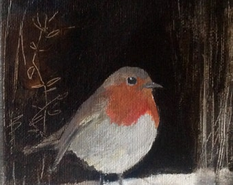 "The Night Robin painting 7"" x 5"""
