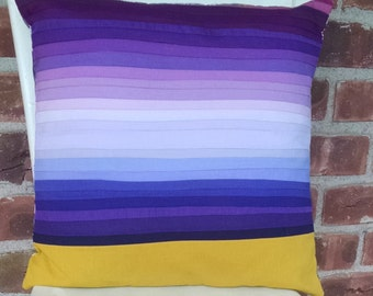 Purple Ombre with Goldenrod Accent Patchwork Pillow