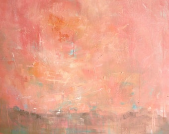 Vibrant // Authentic // Original Oil Painting // Large Square Wall Art // Melon Sky Swirl