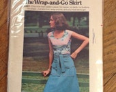 CLEARANCE Vintage Butterick 4041 70s Wrap Skirt Sewing Pattern Medium