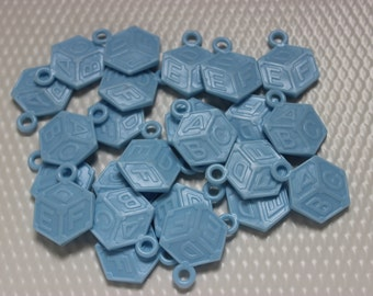 24 Blue Baby Building Block Charms / Baby Shower / Games / Necklaces / Table Scatter / Decor