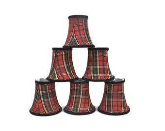 Chandelier Lamp Shades - Silk Red Plaid Shades, SET of 6, Mini Lampshades, Clip On Shades, Christmas Plaid