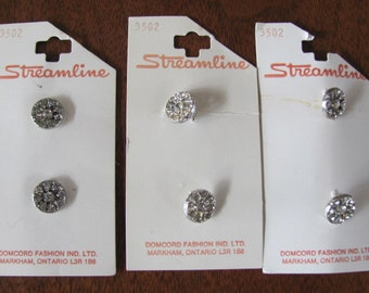 Vintage 50's Sparkly Buttons - set of 6 - 6/8 inches wide - NOS - Streamline Domcord Fashions - Rhinestone Look Buttons - Vintage Buttons