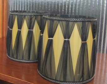 Vintage 60's Mid-Century Mod Harlequin Black and Metallic Gold Small Barrel Lamp Shades - pair - 60's Light Shades - Art Deco Lighting