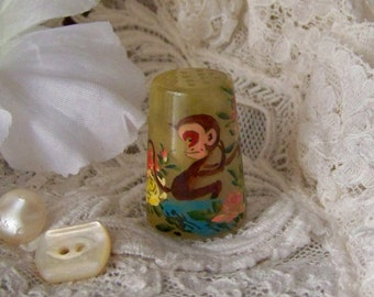 Vintage Monkey Thimble Jade Thimble Hand Painted Monkey Thimble Collector Sewing Room 1980s