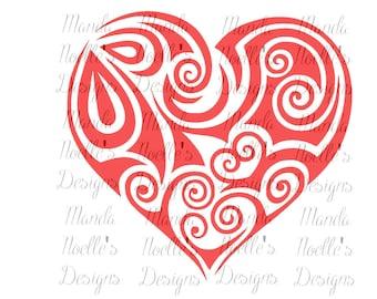 Swirl Valentine's Heart SVG, Silhouette or Cricut Download