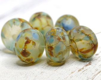 SRA handmade pale aqua, sky blue with amber, goldstone, and TONS of pure silver set of (6) matte finished Lampwork Beads 22516-2