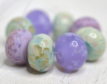 copper green and lavender.... (8) SRA handmade, lightly etched earthy greens and lavender set of  lampwork beads for making jewelry 62716-7