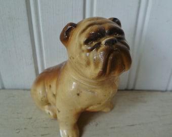 Bulldog Dog Figurine, Chalkware. Vintage 1940s. Carnival Chalkware. English Bulldog. Animal Figure.