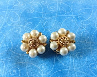 Marvella pearl earrings, Pearl cluster earrings, marvella earrings