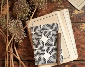 SALE Letterpress Notebook with writing insert / Blank Notebook / Blank Journal / A6 Journals and Notebooks / 80pages / grid and lined insert
