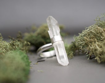 Monolith Ring- Quartz Crystal and Sterling Silver Unique Shaped Statement Ring
