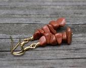 Brown Goldstone Chips . Earrings