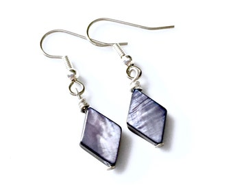 Steel Blue Mother of Pearl Diamonds . Earrings