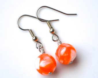 Clearance Sale . Orange and White Mother of Pearl Rounds . Earrings