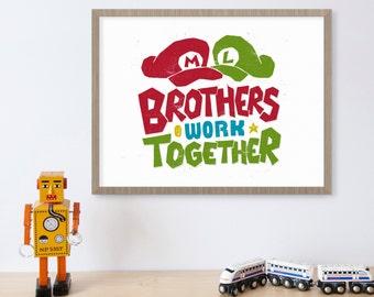 Super Mario Brothers, Video Game Art, Nintendo, Brothers Wall Art, Gamer Gifts, Video Game Decor, Luigi, Boy Room Decor, Kids Wall Art