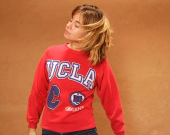 UCLA bruins COLLEGE football 90s sweatshirt raglan red sweatshirt rare red color