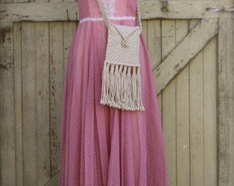 Vintage 70's Gunne Sax Dress, 70's Maxi Dress, Vintage Sundress, Corset Top, Pink, Mauve, Sleeveless Dress, Empire Waist, Like NEW, Small