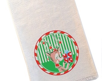 Vintage Retro Reindeer Christmas Tea Towel by Designer Becky Denny, Holiday Hostess Gift