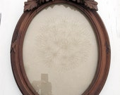 1800s Large Oval Ornate Carved Wooden  Oak Frame, ornate with Ribbon Bow, hand carved wood