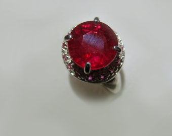 Stunning Natural Ruby In Sterling Silver Cocktail Ring, 3.88ct. Size 7