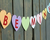 Valentine's Day BE MINE Pastel Conversation Candy Hearts Paper Banner / Garland - Home Decor, Party Banner, Photo Backdrop, Shower Decor