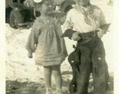 "Vintage Photo ""Her Heroic Cowboy"" Snapshot Old Antique Photo Black & White Photograph Found Paper Ephemera Vernacular - 72"