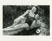 "Vintage Photo ""Beautiful Bump on a Log"" Bathing Suit Snapshot Photo Old Photo Black & White Photograph Found Paper Ephemera Vernacular - 36"