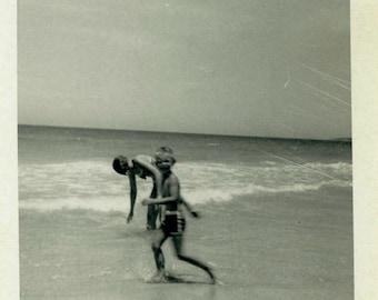 "Vintage Photo ""Summer Moment"" Snapshot Antique Photo Black & White Photograph Found Paper Ephemera Vernacular - 198"