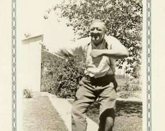 "Vintage Photo ""Grandpa Could Cut a Rug"" One Arm Medical Snapshot Antique Photo Black & White Photograph Found Paper Ephemera Vernacular - 38"