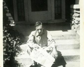 "Vintage Photo ""The Dull Paper"" Newspaper Snapshot Photo Antique Photo Black & White Photograph Found Photo Paper Ephemera Vernacular - 200"